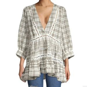 FREE PEOPLE Time Out Lace Trim Tunic Top